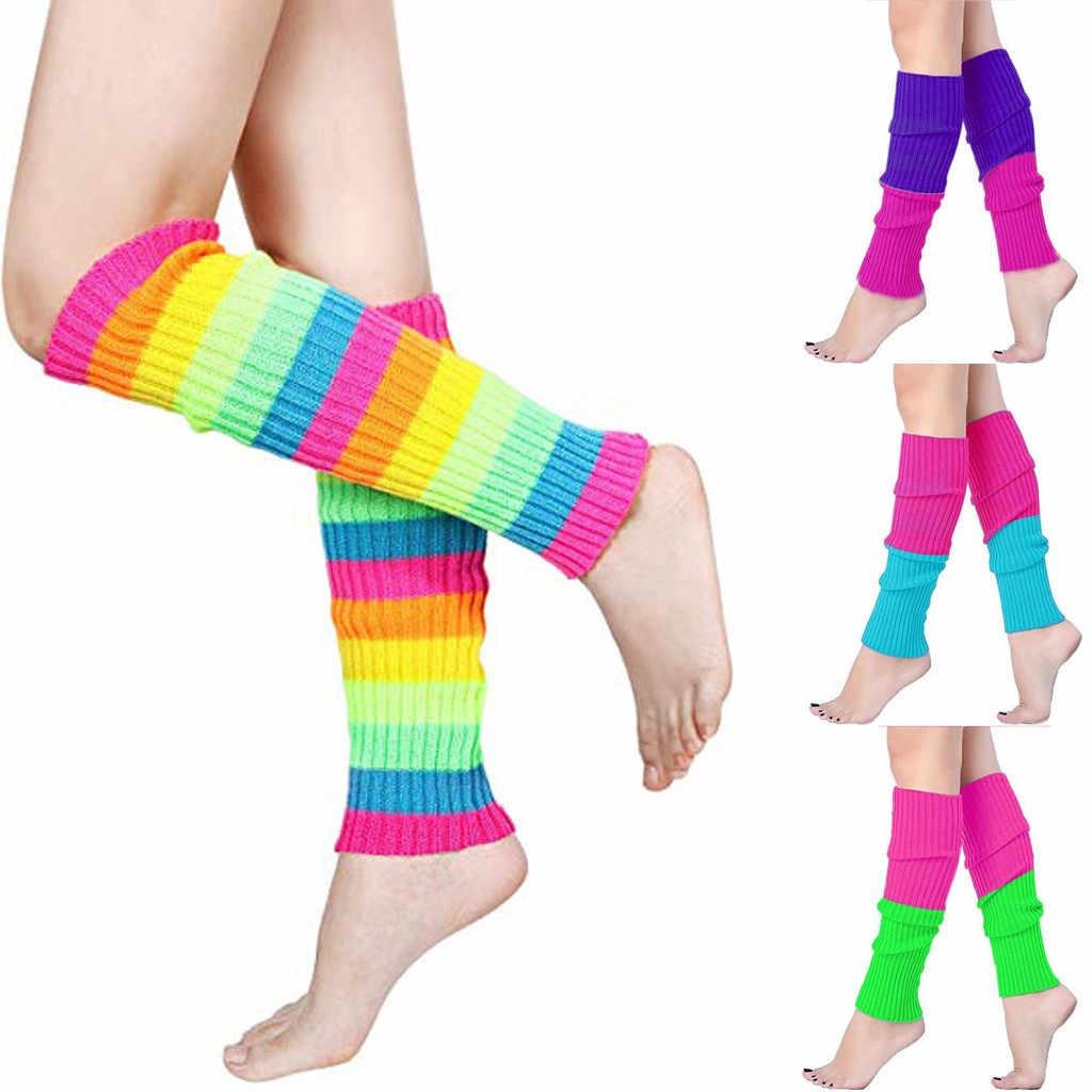 SAGACE רגל מחממי קשת גרבי נשים טלאי פס הדפסת גרבי בנות חם חורף נשים גרביים רך לסרוג צמר מזדמן גרביים