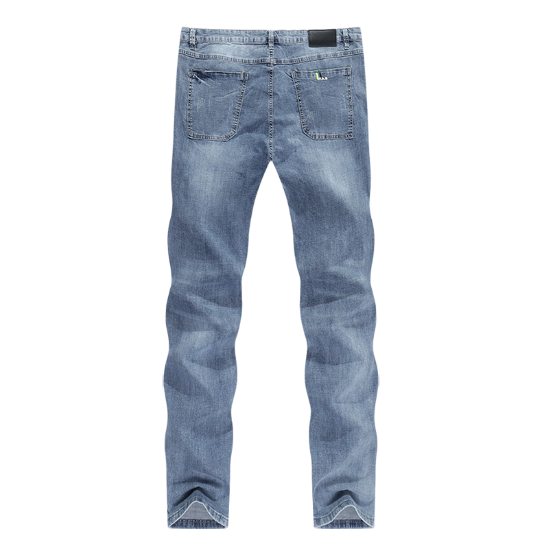 KSTUN Mens Jeans Brand Elastic Retro Blue 2020 Summer Ultrathin Business Casual Slim Straight Man Long Trousers Cowboys Hombre 12