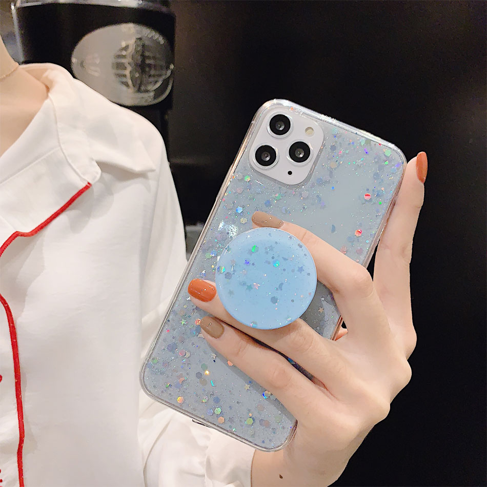 H84b310f2b5c94df8a1512fc56af405598 - Bling Glitter Phone Case For iphone 11 Case 11 pro max 6 6s 7 8 Plus X XR XS Max Star Sequin Cover Funda Stand Holder Coque