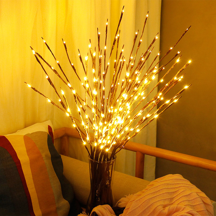 Thrisdar 20 LED Willow Branch Lamp Floral Tree Light Tall Vase Filler Willow Twig Fairy String Light For Christmas Wedding Party