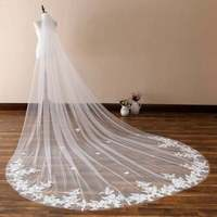 Wedding Veils for Girls Cathedral Length Long 1T Appliques With Comb Bridal Lace