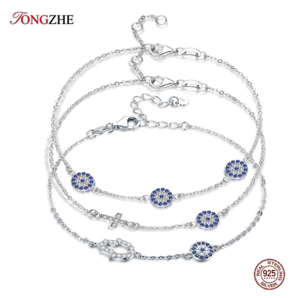 TONGZHE 2019 Fashion Women Bracelet 925 Sterling Silver Hamsa Evil Eye Bracelet Turkey Jewelry Hand Bracelets For Women Pulseras