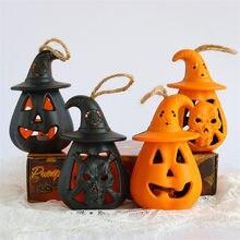 Lâmpada led halloween abóbora luzes bonito mini abóbora festival festa de halloween flash luzes halloween decoração adereços vela luz