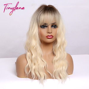 Image 4 - TINY LANA Medium Length Ombre Blonde Golden Synthetic Wigs Natural Hair  with Bangs Wavy Heat Resistant Fibre Cosplay Women wigs