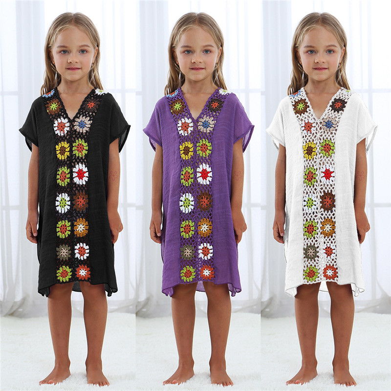 Kids Girls Beach Cover Up Girl Dress Tunic Pareos Bikini Swim Coverups Boho Crochet Robe Plage Beachwear Sundress 7 Year Dresses