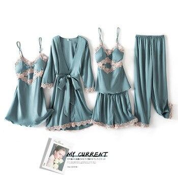 New 5 Pieces Women Pajamas Sets Satin Pyjamas Sleepwear Elegant Sexy Lace Fashion Spring Autumn Homewear - discount item  30% OFF Women's Sleep & Lounge