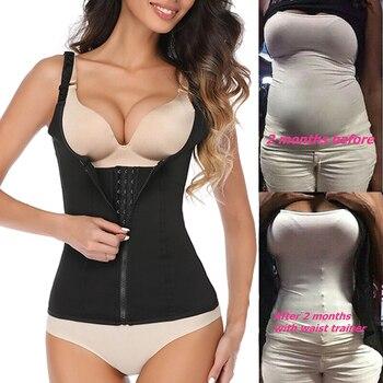 Women Waist Trainer Vest Tummy Belly Girdle Body Shaper Cincher Corset Adjustable Strap Zipper Hook Plus Size Shaperwear