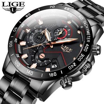 2020 LIGE mode hommes montres en acier inoxydable haut marque de luxe Sport chronographe montre à Quartz hommes noir montre Relogio Masculino