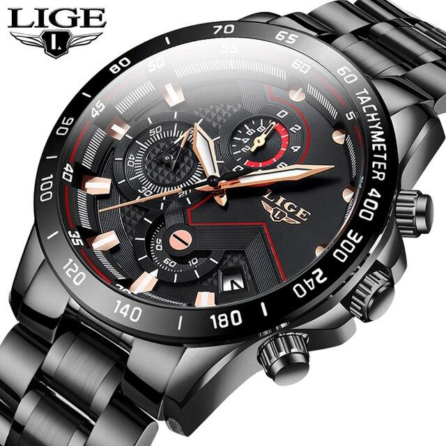 2020 LIGE موضة رجالي ساعات الفولاذ المقاوم للصدأ العلامة التجارية الفاخرة الرياضة ساعة كوارتز بكرونوجراف الرجال ساعة سوداء Relogio Masculino