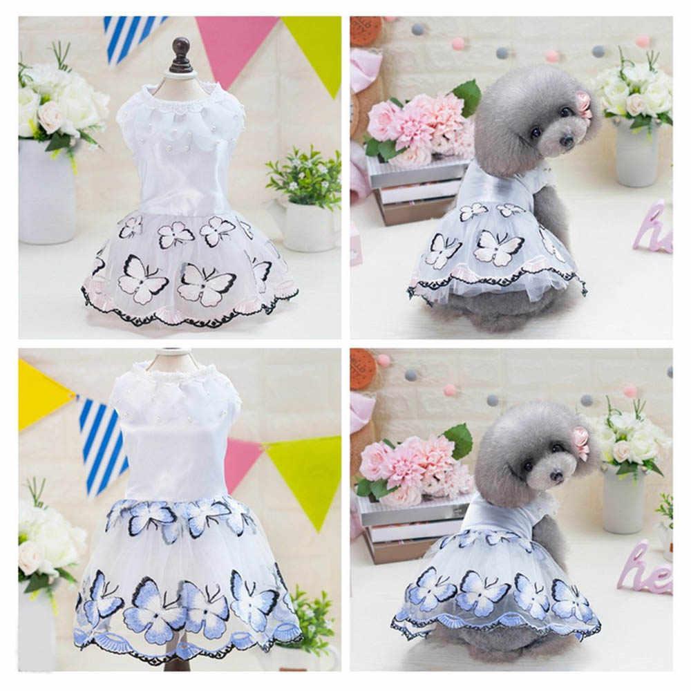 Платье с вышитой бабочкой для собак Сетчатое платье с юбкой Тюлевое праздничное платье принцессы Жемчужное свадебное платье для весны и лета одежда для маленьких домашних животных