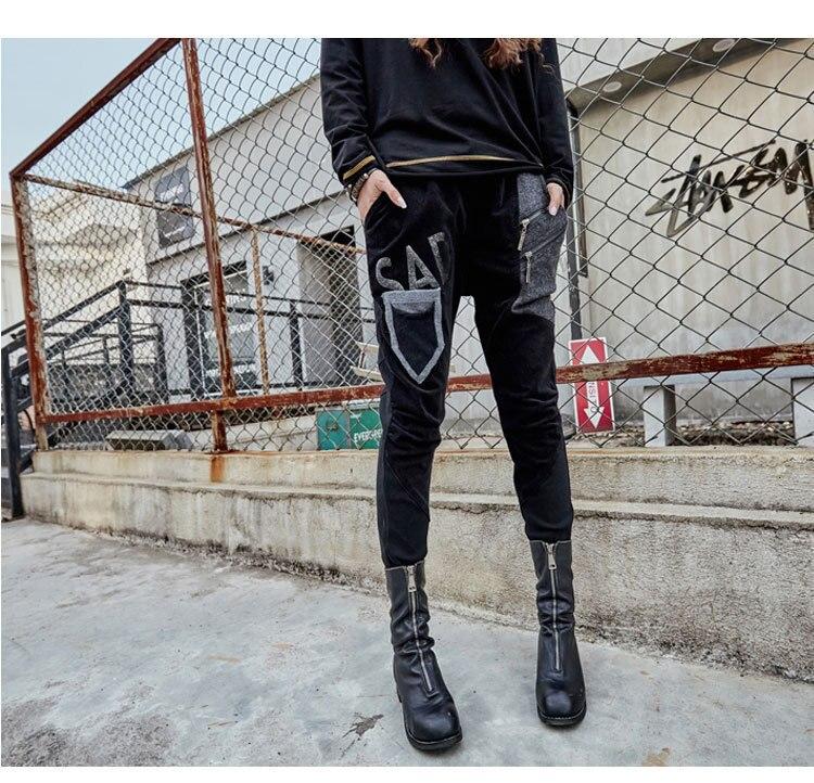 prined 最大ルル春のファッションヴィンテージ弾性ハーレムパンツ韓国レディースブラックスキニーリッピング 女性デニムズボン IOW 94