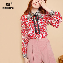 ROHOPO Leopard Tie Collar & Cuff White Daisy Red Blouse Patchaork Elegant Ladies Soft Floral Baggy Top Shirt #7042