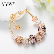 Gold Color Charms Pandora Bracelet Flower Beads Bracelets For Women Big Hole Pulseras Mujer Bransoletki Armband Luxury Jewelry(China)
