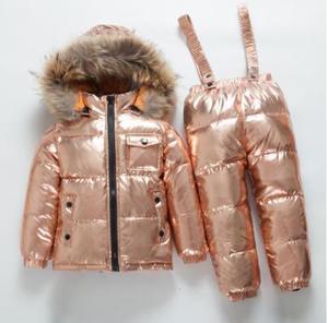 Image 5 -  40 derece rus kış çocuk beyaz ördek aşağı seti erkek kız gerçek kürk kapşonlu yaka askısı takım elbise çocuklar kar kayak takım elbise