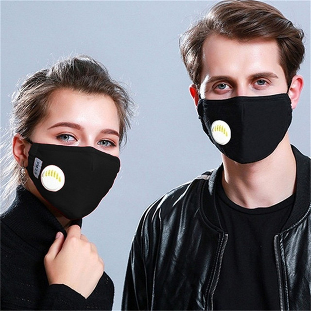 5pcs/lot PM2.5 Mouth Mask Anti-dust Mask with Valves Carbon Filters Masks Anti Pollution Windproof Washable Reusable Masks 1
