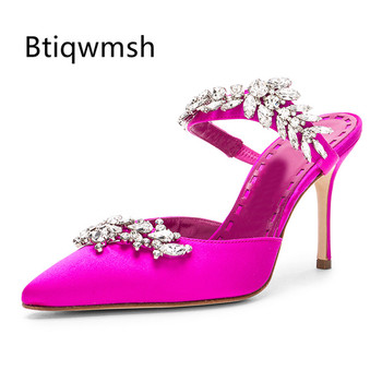 2020 Pink Luxury Satin Slippers Women Pointed Toe Rhinestone Leaf 8CM High Heel Shoes Woman Sexy Gladiator Sandals