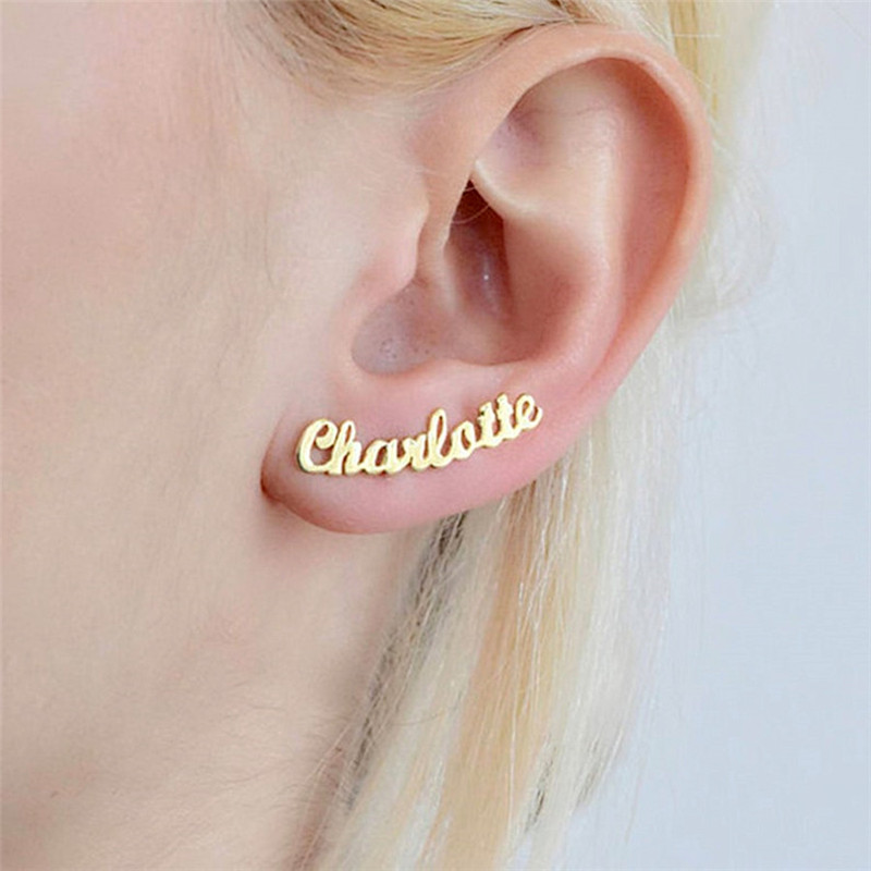 Bijoux minimalistes nom personnalisé boucles d'oreilles pour femmes cadeau personnalisé lettre initiale personnalisée Boucle D'oreille Femme