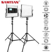 SAMTIAN 사진 라이트 스튜디오 라이트 L4500 스탠드 삼각대와 2 세트 비디오 라이트 dimmable 바이 컬러 3200K 5500K 패널 라이트
