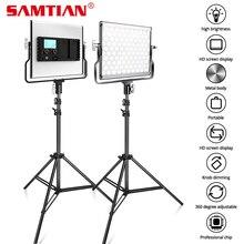 SAMTIAN oświetlenie fotograficzne lampa studyjna L4500 2 zestaw lampa wideo ze stojakiem statywy możliwość przyciemniania bi color 3200K 5500K panel oświetleniowy