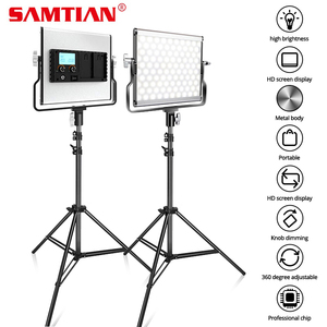 Image 1 - SAMTIAN photography light studio light L4500 2 set video light with stand tripods dimmable bi color 3200K 5500K panel light