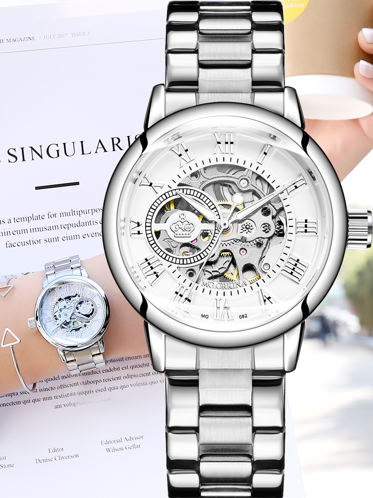 Watch Women Montre Mechanical-Watch Skeleton Silver Femme Automatic New-Fashion Luxury Brand