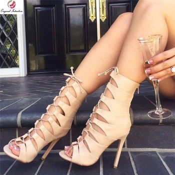 Original Intention New Sexy Cross-tied Sandals Woman Apricot Stiletto High Heels Peep Toe Rome Style Party Shoes Female Charm