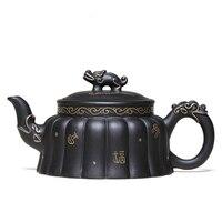 Extreme Andrew Dark-rot Emaillierte Keramik Teekanne Berühmte Manuelle Roherz Schwarz Schlamm Teekanne Tee-Set