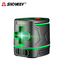 SNDWAY 2-line laser level vertical measurement tool rechargeable battery green light automatic level indoor outdoor level