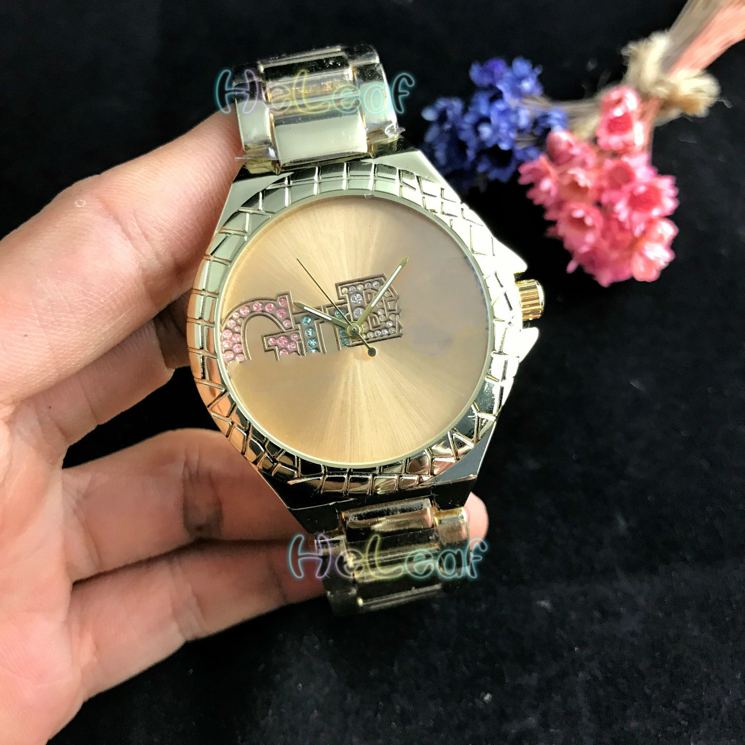 Fashion Silver Gold Simple Colored Diamond Stainless Women Watch Quartz Wrist Watches Girls Famous Brand Female Clock Reloj