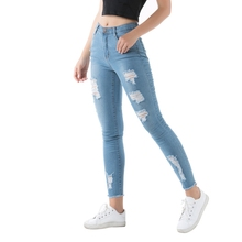 summer Fashion Sexy Ripped Hole Women  Denim Skinny Pants High Waist Stretch Jeans vintage Slim Pencil Jeans Ladies Casual Jeans hancuinu casual women brand vintage mid waist skinny denim jeans slim ripped pencil jeans hole pants female sexy girls trousers