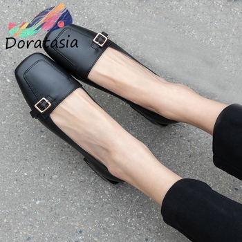 DORATASIA Consise Female Spring Pumps Black Metal Square Toe Slip On Shallow Classic Pumps Women Leisure Shoes Woman