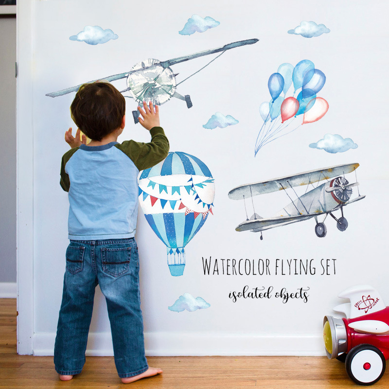 Watercolor Airplane Wall Stickers, Hot Air Balloon Wall Decal for Boy Bedroom Nursery Toy Story Classroom Decoration image