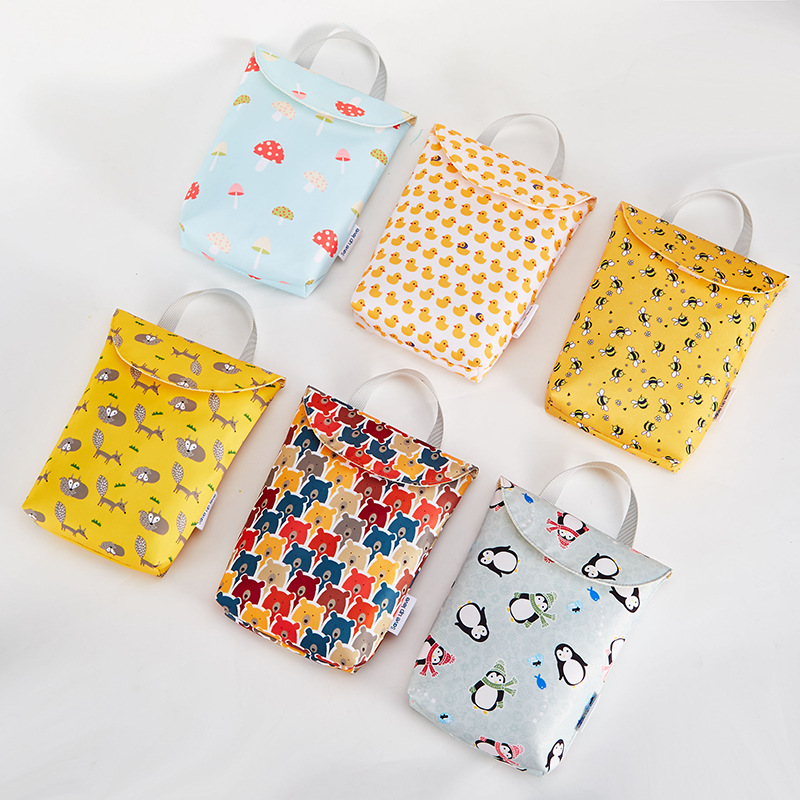 6 Style Multifunctiona Reusable Waterproof Cute Prints Baby Wet Dry Bag Mommy Storage Travel Nappy Bag