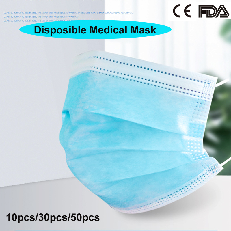 Image 2 - 10/30/50PCS 3 Layer Disposable Medical Protective Face Mouth 