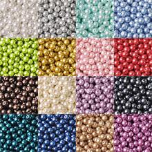 Lot Colors Round Pearl Coated Glass 4mm 6mm 8mm 10mm 12mm 14mm 16mm Loose Spacer Beads for Jewelry Making DIY Crafts