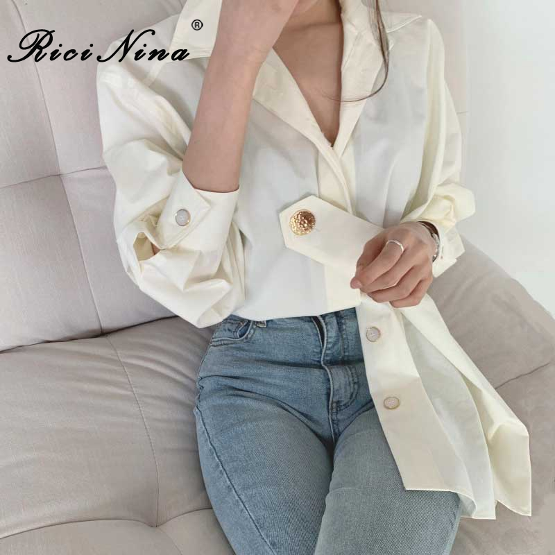 RICININA Womens Blouse Women Shirts And Blouses 2019 Fall Lapel Buttons Bandage White Vintage Shirt Long Sleeve Femme Casual Top
