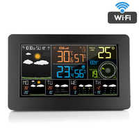 FanJu W4 Digital LCD Alarm Clock Stazione Meteo wifi Indoor Outdoor di Umidità di Temperatura di Pressione del Vento Previsioni Meteo Orologio