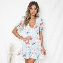 V Neck Mermaid Women Summer Dress Short Sleeve Bohemian Floral Chiffon