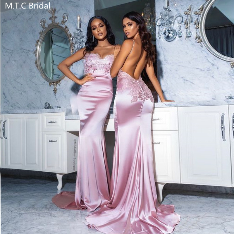 Sexy Dusty Rose Backless Bridesmaid Dresses Sweetheart Spaghetti Straps Lace Satin Plus Size Wedding Guest Prom Dress Wholesale