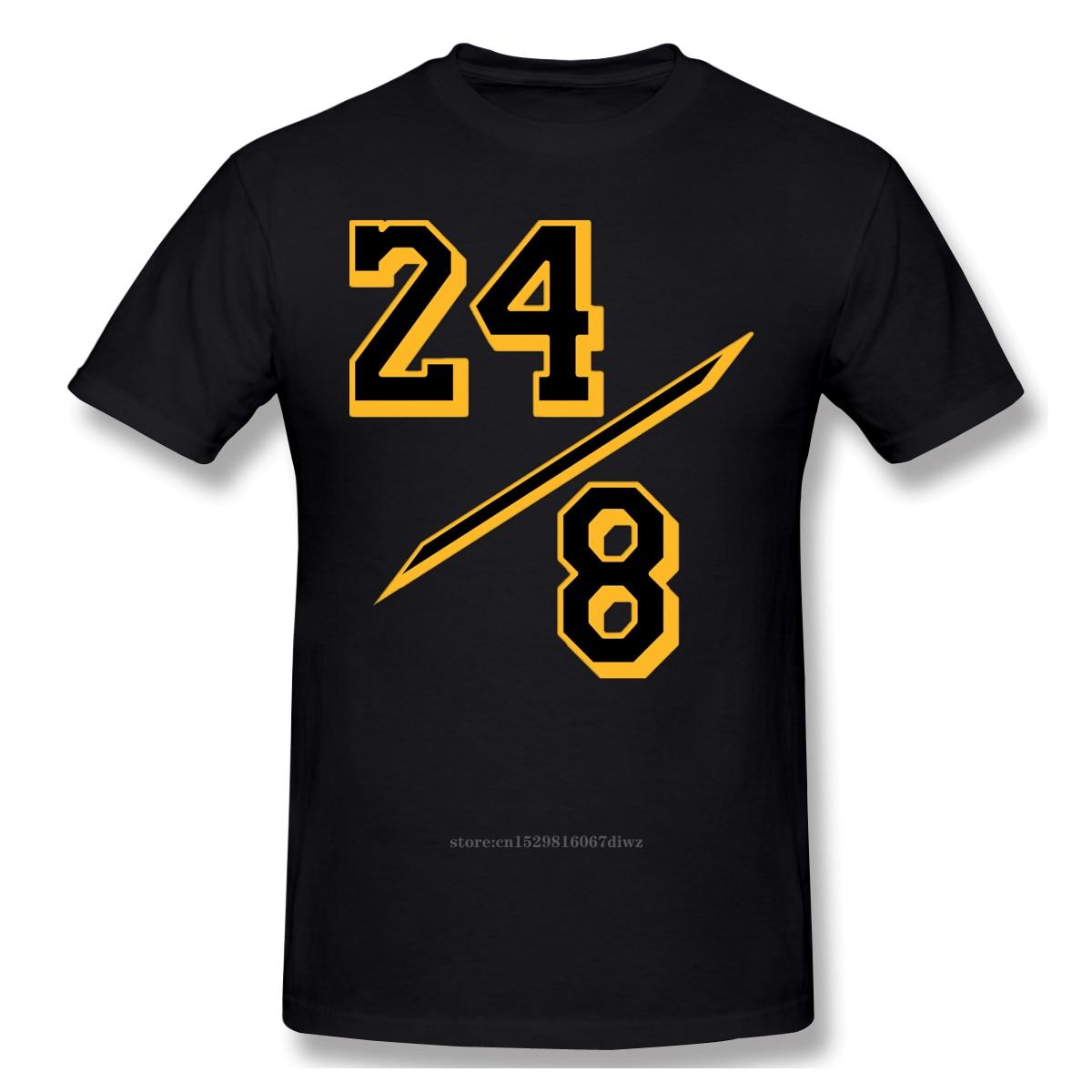 24 - 8 Number Print New Summer Cotton Funny T Shirts Short Sleeves T-shirt Bryant Men Fashion Ofertas Streetwear