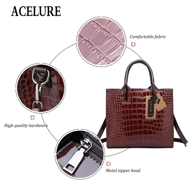 ACELURE 3 Sets High Quality Pu Alligator Leather Women Handbags Luxury Brands Tote Bag Ladies Shoulder Bag Clutch Messenger Bag