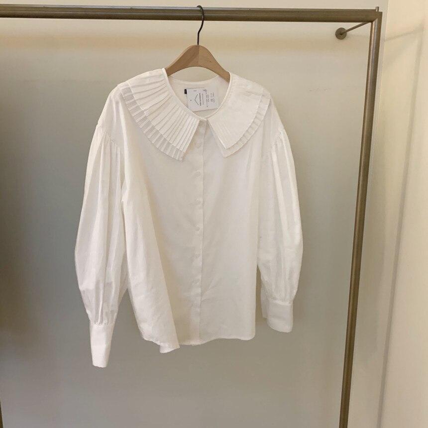 H84b4f7ca3e404511913b024bf8de6324x - Spring / Autumn Korean Pilgrim Collar Long Sleeves White Blouse