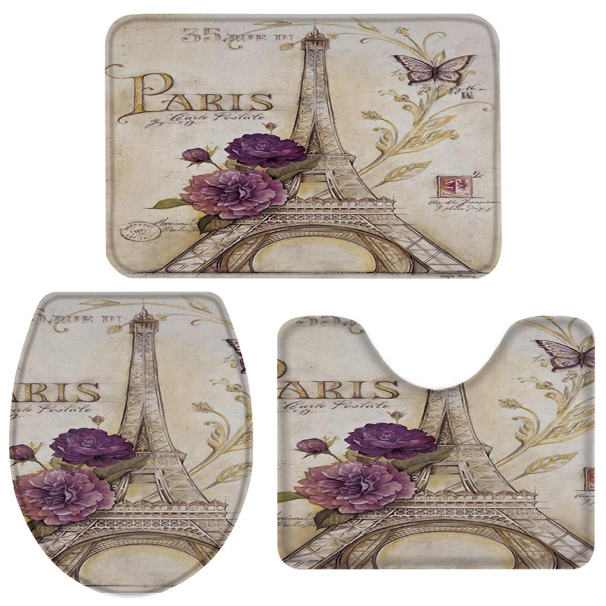 7 Pieces Bathroom Set Paris Flowers Butterfly Bath Set Toilet Cover Mat  Pedestal Rug Non-Slip Bathroom Rug Set