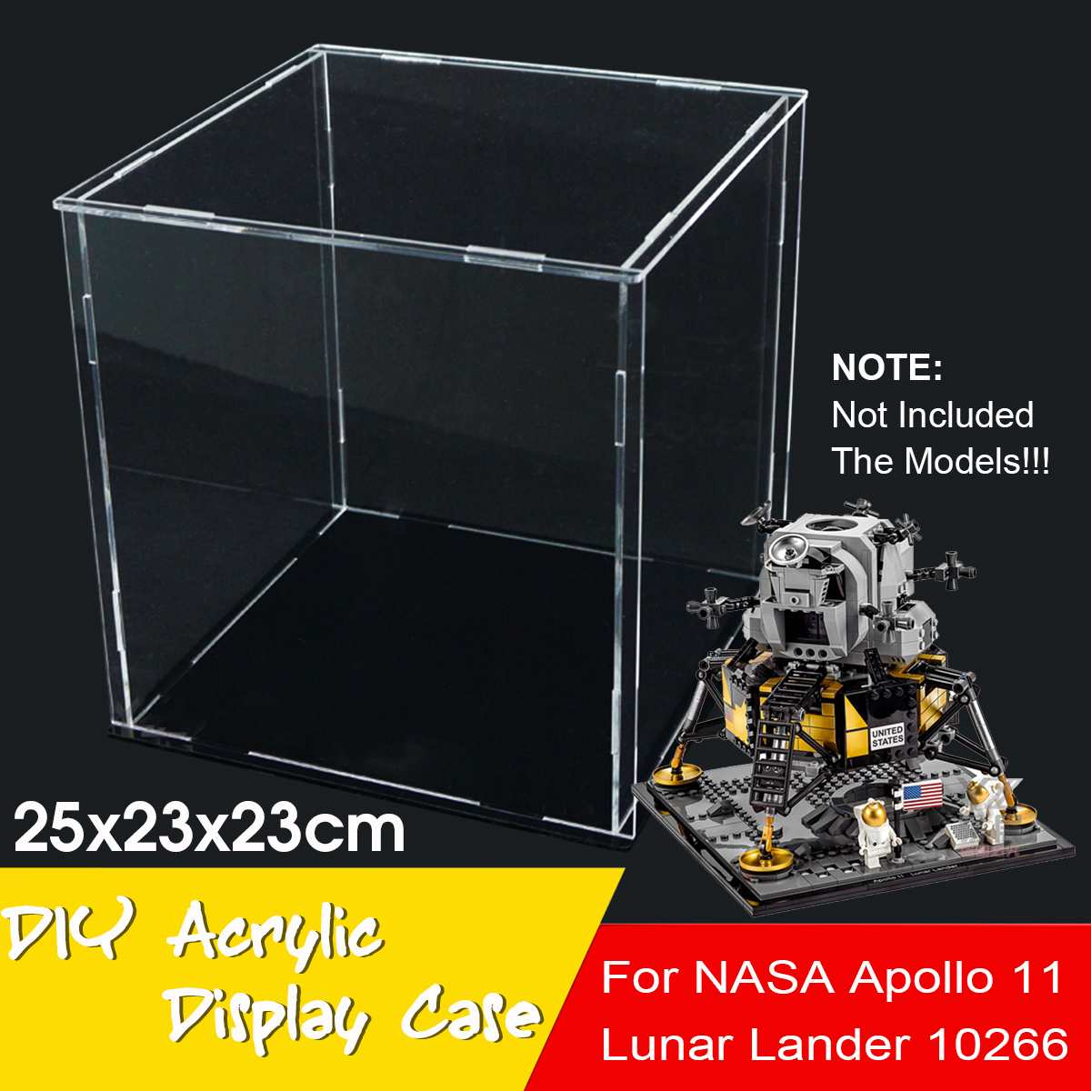 NEW 25x23x23cm Transparent Clear Acrylic Display Case Show Box For Lego for NASA for Apollo Lunar Lander Bricks Toy Model image
