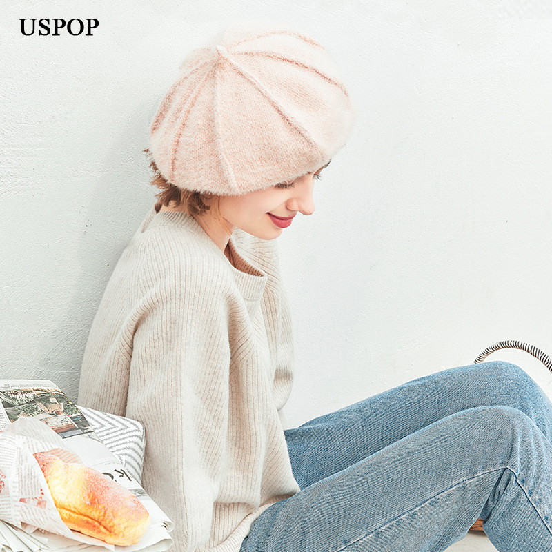USPOP 2019 New Autumn winter hats women berets sweet solid color knitted beret soft warm octagonal hats cap in Women 39 s Berets from Apparel Accessories
