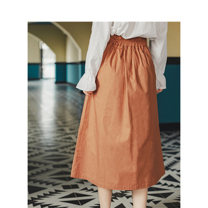 Image 2 - INMAN Spring Autumn Retro Young Girl Literary 100%Cotton Solid Lacing A line Women Medium Skirt