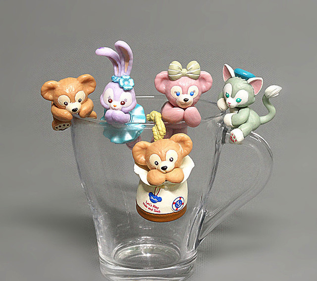10set PVC Duffy Bear for cup Kawaii In Pajamas Action Figure Dolls Toy Collection Figure Toy Gift Wholesale 6