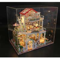 Drewniane DIY model domku dla lalek zabawki dla wieczne światło domek dla lalek Mini budynku miniaturowe z osłoną przeciwpyłową lalki dom 13845
