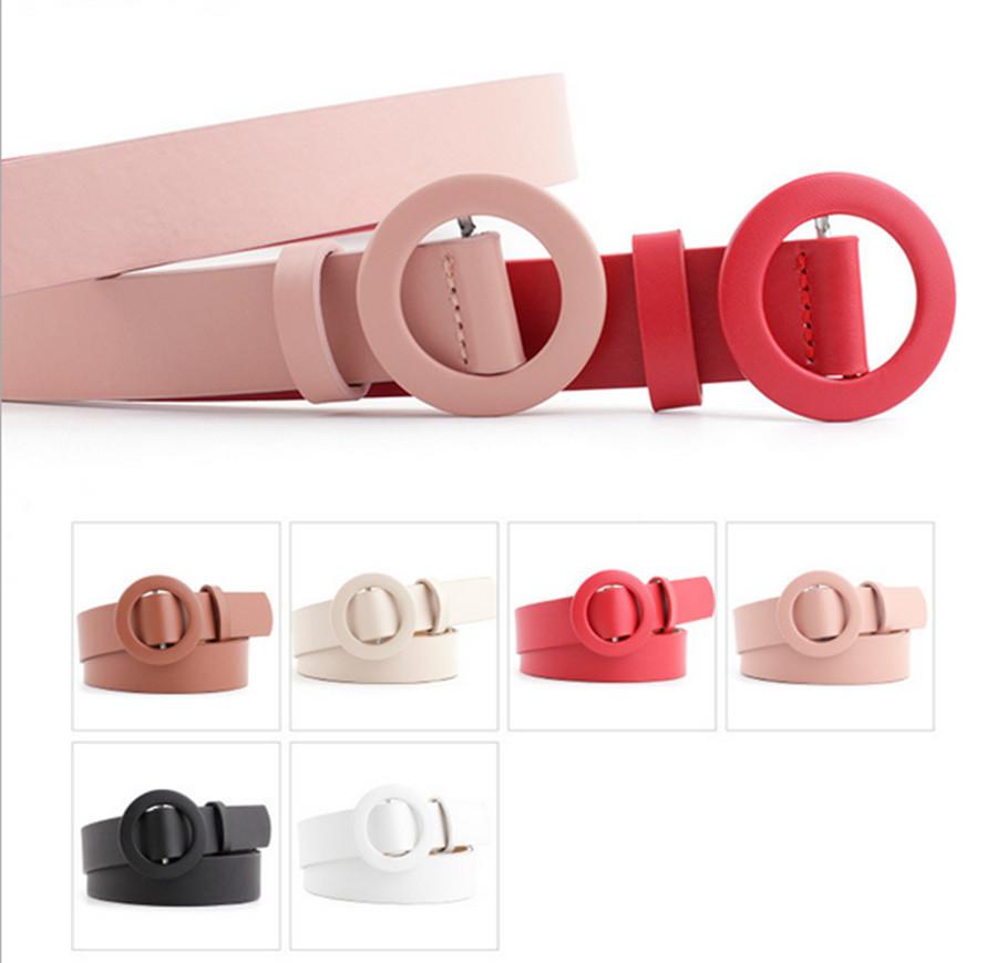 2020 New Solid Color Ladies Light Body Pu Belt Fashion Round Buckle Needle-free Punch-free Wild Decorative Pants Belt