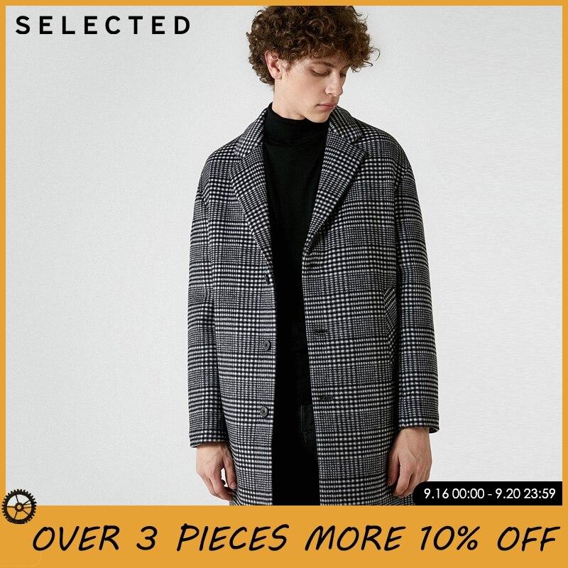 Отборные Мужские осенне зимние средней длины 100% шерстяное пальто куртка | 418427538